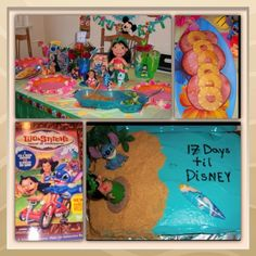 Lilo and Stitch movie night. I want to do this for my bday! like how the cake is counting to disney