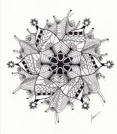 Zentangle, or Zendoodle, is the new drawing craze that everyone's talking about! Whether you're a doodler or an experienced artist, you can Zentangle! Tangle Doodle, Tangle Art, Zen Doodle, Doodle Art, Zentangle Drawings, Doodles Zentangles, Doodle Drawings, Mandala Drawing, Mandala Painting