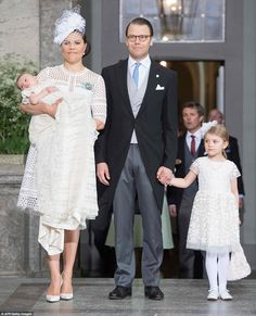 Crown Princess Victoria and Prince Daniel of Sweden today celebrate the christening of the...