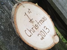 rustic ornament, first christmas, heart and initials, happy holidays, momento, keepsake, wood slice