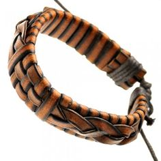 Light Brown Braided Adjustable Leather Bracelet