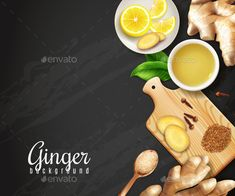 Ginger roots, cutting board with spices, cup of tea, saucer with lemon on black background vector illustration