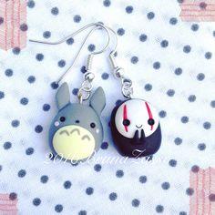 Orecchini Totoro & NoFace  Cute por BrunaZassou en Etsy                                                                                                                                                                                 Más