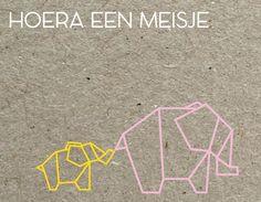 Olifantjes / geboortekaartjes / geboortekaartje op karton / stoer kaartje voor een meisje / origami animals / elephant / kaartje op karton   Gratis PROEFPAKKETJE   Check de Site Studionouk kaartjes