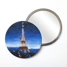 Round Pocket Makeup Mirror - Eiffel Tower at Night Eiffel Tower At Night, Free Black, Black Mirror, French Artists, Small Gifts, Pocket, Makeup, Illustration, Prints