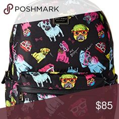 """Betsy Johnson Dog Backpack Betsey Johnson Dog Backpack ...don't make that face at me, bb! This suuuuuper cute backpack features, front zip pocket with a lil pug face 'N pom-pom pull tab, a roomy, floral lined interior, and adjustable shoulder straps, zip around closure, signature Black logo plaque, single carry strap at top and adjustable backpack straps, front zip pocket, removable pom pom key chain, fully lined adorable rose printed interior with wall zipper.  Height: 13.5""""  Width: 11 """" …"""