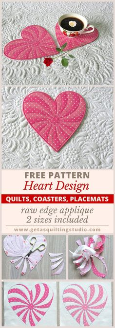 Free Heart Quilt Pattern- great for coasters and placemats as well. Raw edge applique, 2 sizes included.