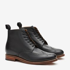 GRENSON ALFRED $450 Grenson Black Leather Brogue Boot @ Bonobos