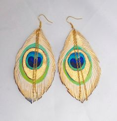 WHITE PEACOCK Feathers. Handpainted Leather Feather Earrings.