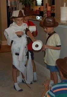 Indiana Jones party ideas. We did this - contest to wrap a mummy the fastest then a race.