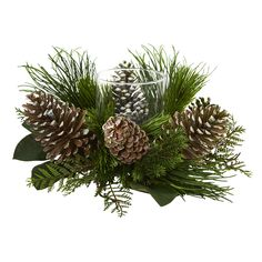 Greenery and pine cones are skillfully arranged around a candelabrum for a full and luscious look. Large natural pine cones peek out from the greenery surrounding this pine and pine cone candelabrum. It's a fantastic addition to your holiday decor.