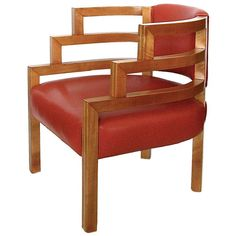 This early 1929 chair was designed for the Arizona Biltmore Hotel. This is the earliest production of this chair with a beautiful light maple inlaid stripe accent running along the top, sides and front of the chair frame. Designed by KEM Weber.