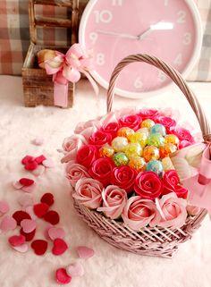 [바보사랑] 인테리어용으로도 너무 좋은 향기로운 비누꽃 사탕바구니 /화이트데이/선물/바구니/연인/사탕/장미/비누꽃/데코레이션/하트/Flower Basket/Candy/Rose/Gift/White Day/Decorations/Soap Flower/Artificial flower /Heart