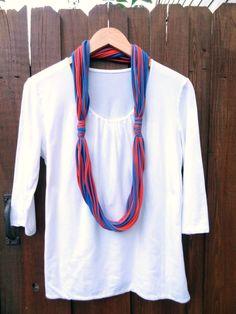 TShirt Scarf Necklace in Blue & Orange by AbbysCraftGoods on Etsy, $10.00