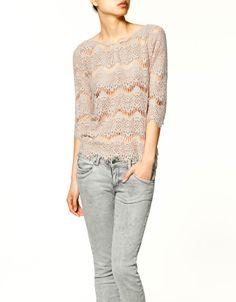 Zara TRF FW11 silk lace top in dusty pink