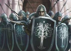 m Fighters Royal Guards Plate Armor Helm Shield Spears Swords bridge gate castle Denethor and Sons - Fantasy Flight Games Fantasy Battle, Fantasy Armor, High Fantasy, Medieval Fantasy, Fantasy World, Jrr Tolkien, Armadura Medieval, Fantasy Kunst, Wow Art