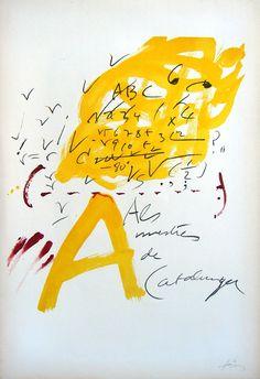 """Antoni Tapies (Barcelona, 1923-2012).  """"Als mestres de Catalunya"""" 1974.  Lithograph. #catalonia"""