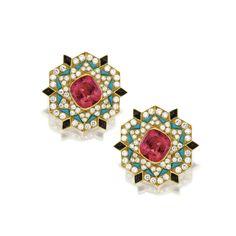 Pair of colored stone and diamond earclips, Bulgari, circa 1965 Bulgari Jewelry, Ear Jewelry, High Jewelry, Luxury Jewelry, Gemstone Jewelry, Jewelery, Jewelry Art, Italian Jewelry, Jewelry Branding