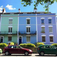 Modern pastel colours adorn these Georgian terrace houses in Bristol's Southville district.