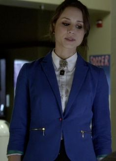 Spencer Hastings's Blue Blazer with Zipper Detail from Pretty Little Liars: Mona-Mania #ShopTheShows #curvio