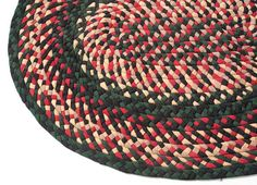 Vintage Handmade Braided Wool Rug: Red & Green 1940s by fallaloft