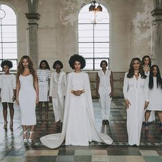 No bridezilla here — everyone wore white on Solange's big day. She even let the bridesmaids pick out their own dresses.