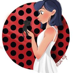 Marinette and Black Cat As usually inspired by: @pernilleoerum  #marinette #miraculum #inktober #inktober2016  #disneyarts #paint #painting #illustrator #illustration #graphic #graphicdesign #character #disney #sweet #girl #doodle #doodles #f4f #l4l #followme #like #artofcharacterdesign #instagood #instalike #girlsinanimation #skretch #draw #drawing
