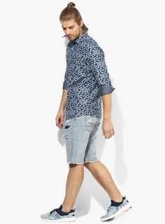 c6bab11209b Buy Splash Navy Blue Printed Slim Fit Casual Shirt Online - 2643501 - Jabong