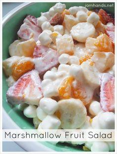 Marshmallow Fruit Salad at Jam Hands  - pinapple, mandarin oranges, bananas, strawberries, marshmallows, and sour cream!