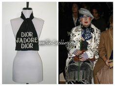Christian Dior Jadore Black White Logo Hand Rolled Silk Scarf Neck Tie Head Wrap