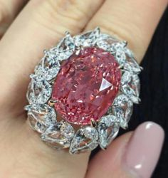 Auctioned in Hong Kong at Christie's Magnificent Jewels & The Pink Promise. Out of this world 28.04 carat Natural #Padparadscha #Sapphire. No Heat. Origin: Ceylon Lab: SSEF Whopping estimate of almost US$2 Million to $3.2 Million! Final Bid: $2.4 Million