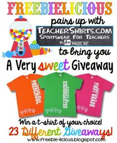 Come get one of 23 teacher t-shirts we are giving away!  We love teachershirts.com!