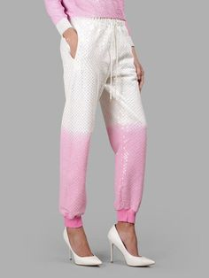 ASHISH ASHISH WOMEN'S WHITE/PINK SEQUINS TROUSERS. #ashish #cloth #trousers