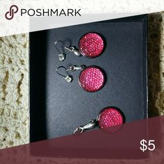 Hot Pink! Handmade jewelry- earrings with matching pendant Jewelry
