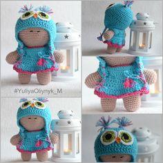 Amigurumi DOLL, Crochet Doll, Crochet Girl Doll, Crochet Toy, Big Head Baby Doll, Cuddly Doll, owl doll by KnitwearByYuliyaO on Etsy