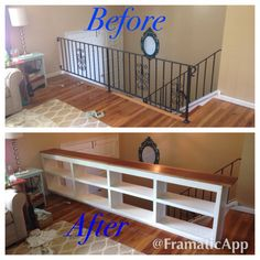 Railing replaced with custom bookshelf with solid walnut top. Plenty of storage for the living room!