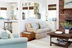 8 Relaxing Clever Tips: Livingroom Remodel Modern Farmhouse living room remodel before and after small spaces.Living Room Remodel Before And After Small Spaces. Living Room Decor Tips, Living Room Colors, Living Room Kitchen, My Living Room, Home And Living, Living Room Designs, Living Spaces, Coastal Living, Small Kitchen Family Room Combo