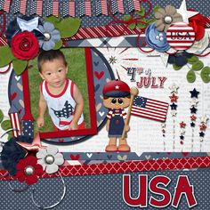 Layout using {Pint Sized Patriot} Digital Scrapbooking Kit by Wimpychompers http://store.gingerscraps.net/Pint-Sized-Patriot.html and {Picture Perfect 13} Digital Scrapbook Template by Aprilisa Designs http://www.gottapixel.net/store/product.php?productid=37482&cat=&page=2