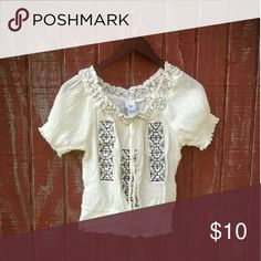 Boho Top Super cute and cool, cream with black stitching boho top. Stretchy  neckline, arm holes and bottom. Very good condition, never worn. Piper & Blue Tops Blouses