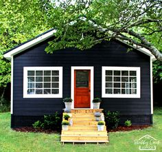 Gorgeous farmhouse style studio (she-shed). This woman and her husband built it all by themselves and it's simply stunning. Love every tiny detail!