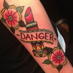 Old style colored lipstick floral tattoo with lettering - Tattoos ...