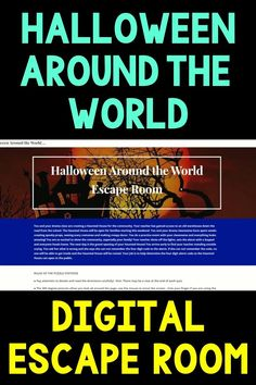 Halloween Around the World DIGITAL ESCAPE ROOM | Distance Learning Halloween Activity during October! A great upper elementary or middle school activity. Includes reading passages, quizzes,