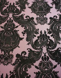 Nancy's Bookmarks Plush Flocked Wallpaper Heirloom Damask Plum/Black Velvet | designyourwall.com