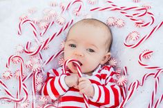 Photo by Studio None Photography Christmas photo ideas for babies. Baby photography. Infant photography. Candy Canes. Peppermint. All around adorable!