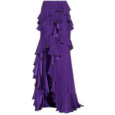 Roberto Cavalli Ruffled Silk Satin Skirt In Purple Frilly Skirt, Satin Skirt, Silk Skirt, Ruffled Skirts, Maxi Skirts, Purple Skirt, Purple Fashion, Roberto Cavalli, Silk Satin
