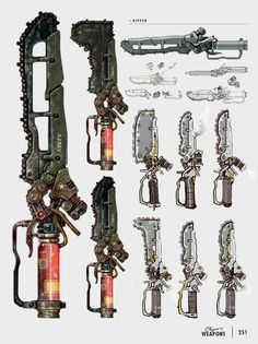View an image titled 'Ripper Art' in our Fallout 4 art gallery featuring official character designs, concept art, and promo pictures. Fallout Art, Fallout 4 Concept Art, Fallout 4 Weapons, Sci Fi Weapons, Weapon Concept Art, Fantasy Weapons, Game Concept Art, Weapons Guns, Fallout Cosplay