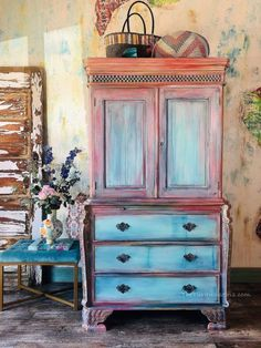 Hand Painted Wardrobe - Hand Painted Vintage Furniture - Hand Painted Bedroom Furniture - Bohemian D Painting Wooden Furniture, Painted Bedroom Furniture, Pallet Furniture, Furniture Projects, Furniture Makeover, Vintage Furniture, Colorful Furniture, Repurposed Furniture, Modern Furniture