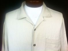 ***SOLD*** Tommy Bahama Beige 100% Silk Mens Large Camp Cigar Shirt - Coconut Wood Buttons #TommyBahama #ButtonFront