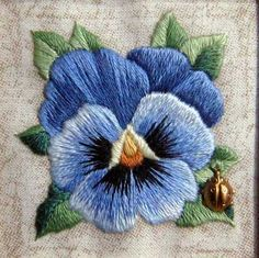 Long and Short Stitch Shading on an Embroidered Pansy  using 1 thread instead of 2 (for better shading).  www.needlenthread.com