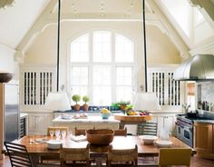 Grand kitchen with high ceiling